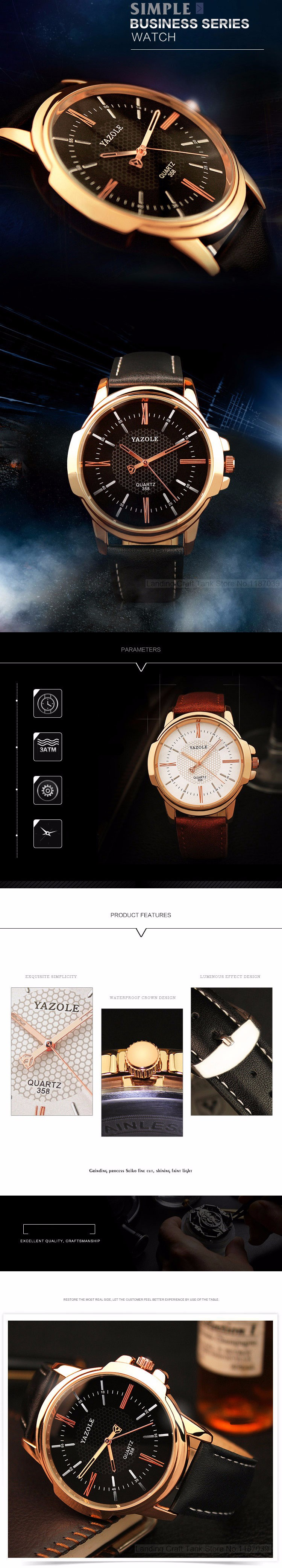 HTB1yrF2KFXXXXbWXFXXq6xXFXXXN - YAZOLE 2017 Rose Gold Luxury Watch for Men
