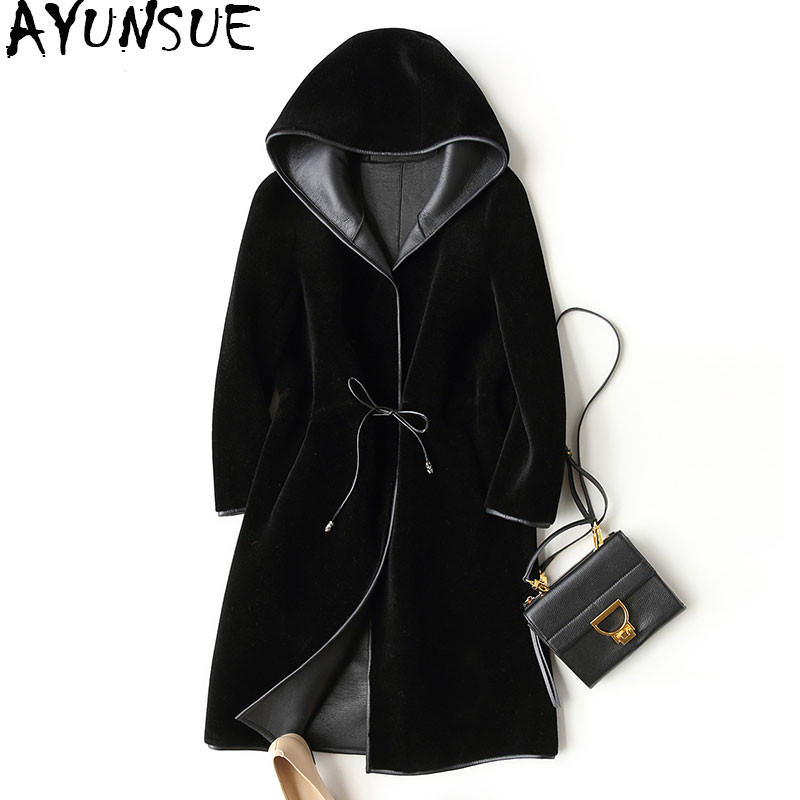 AYUNSUE 2018 New Wool Real Fur Coat For Women Winter Sheep Jackets And Coats Long Hooded PU Leather Lining Overcoat 17952 WYQ757(China)