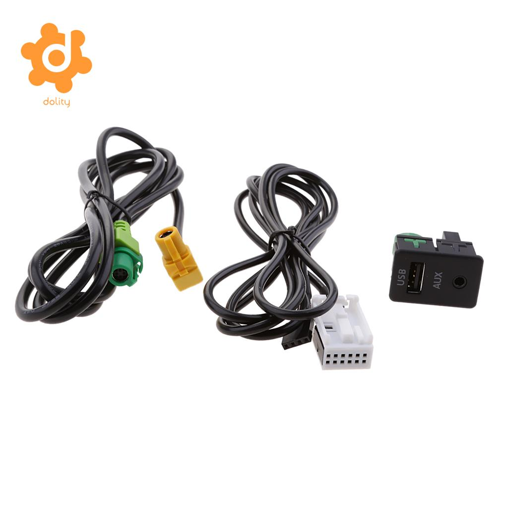 Dolity Car USB AUX Audio Input Cable Adapter Plug Kit For