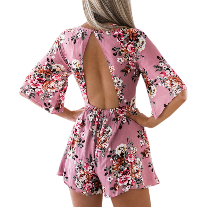 Elegant Sweet Floral Print Women Playsuits Sexy Jumpsuit Shorts  New Summer Half Sleeve Party Beach Playsuit Overalls GV417