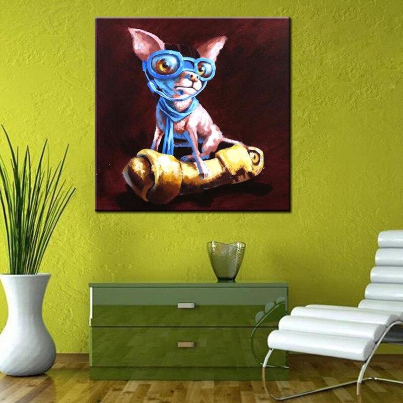 Grand moderne décor à la maison mur Art photos peint à la main abstraite dessin animé chien peintures à l'huile sur toile couteau drôle Doggy peinture