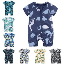 2019 Toddler Newborn Baby Boys Girls Dinosaur Zipper Rompers Cartoon Jumpsuit Outfits Clothes Short Sleeve
