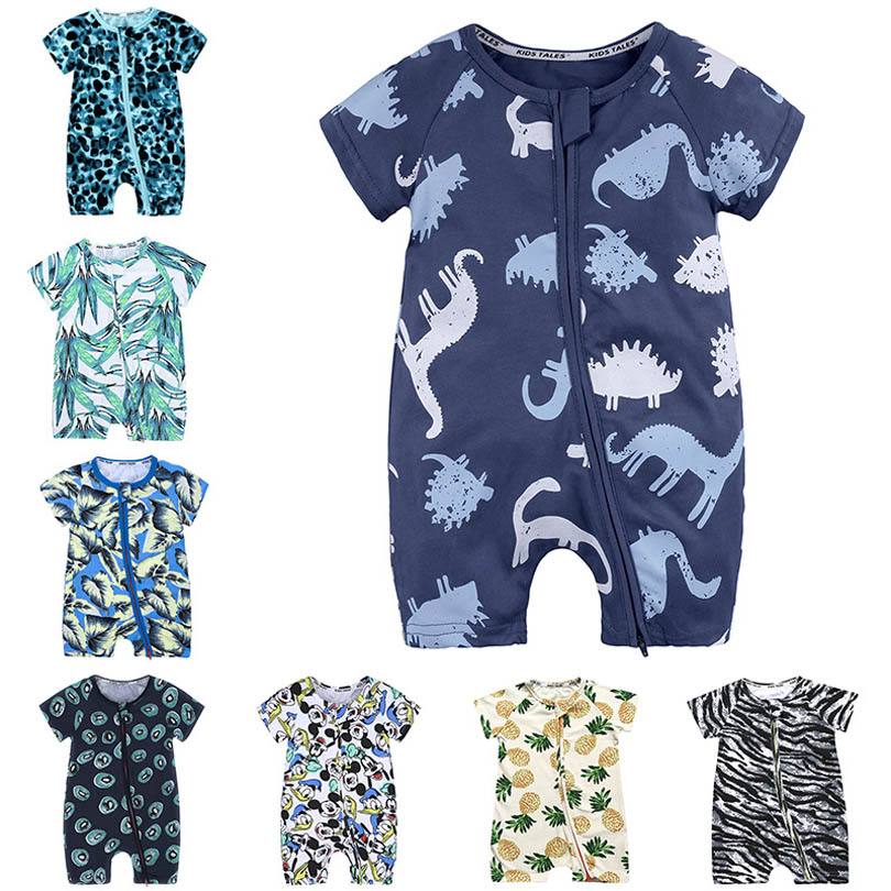 2020 Summer Toddler Boys Clothes Newborn Baby Girls Dinosaur Zipper Rompers Cartoon Baby Onesies Cotton Short Sleeve Kids Romper