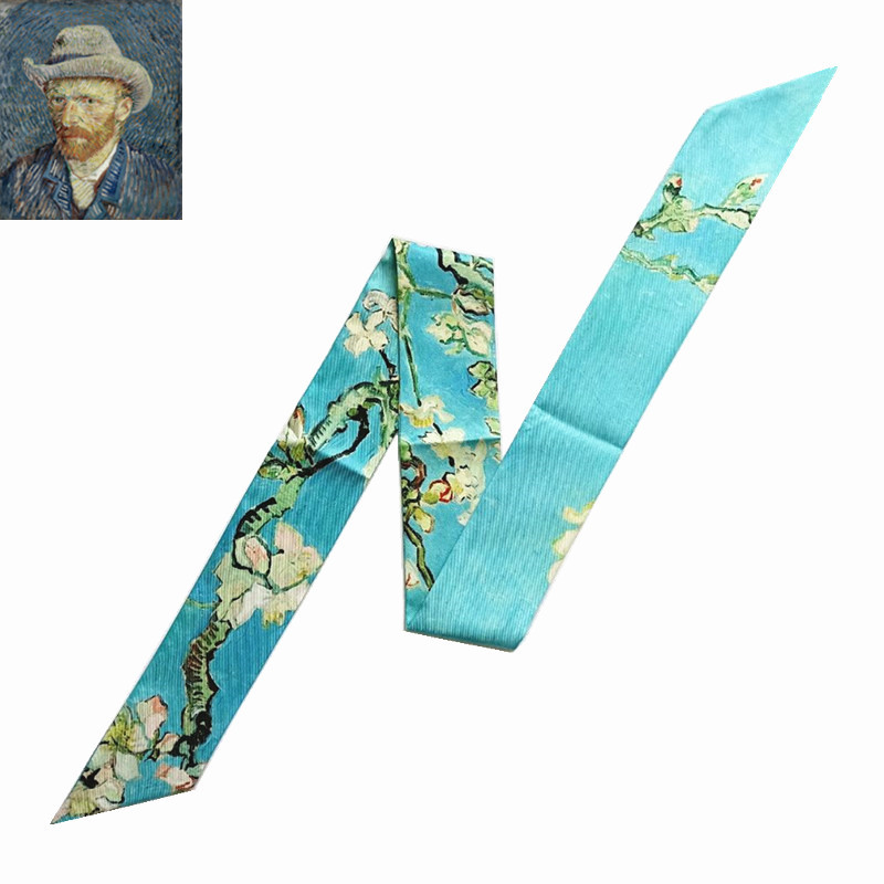 Van Gogh Oil Painting Bag Scarves Skinny Scarves For Ladies 2020 New Design Silk Scarf Women Multi-function Head Scarf Kerchief
