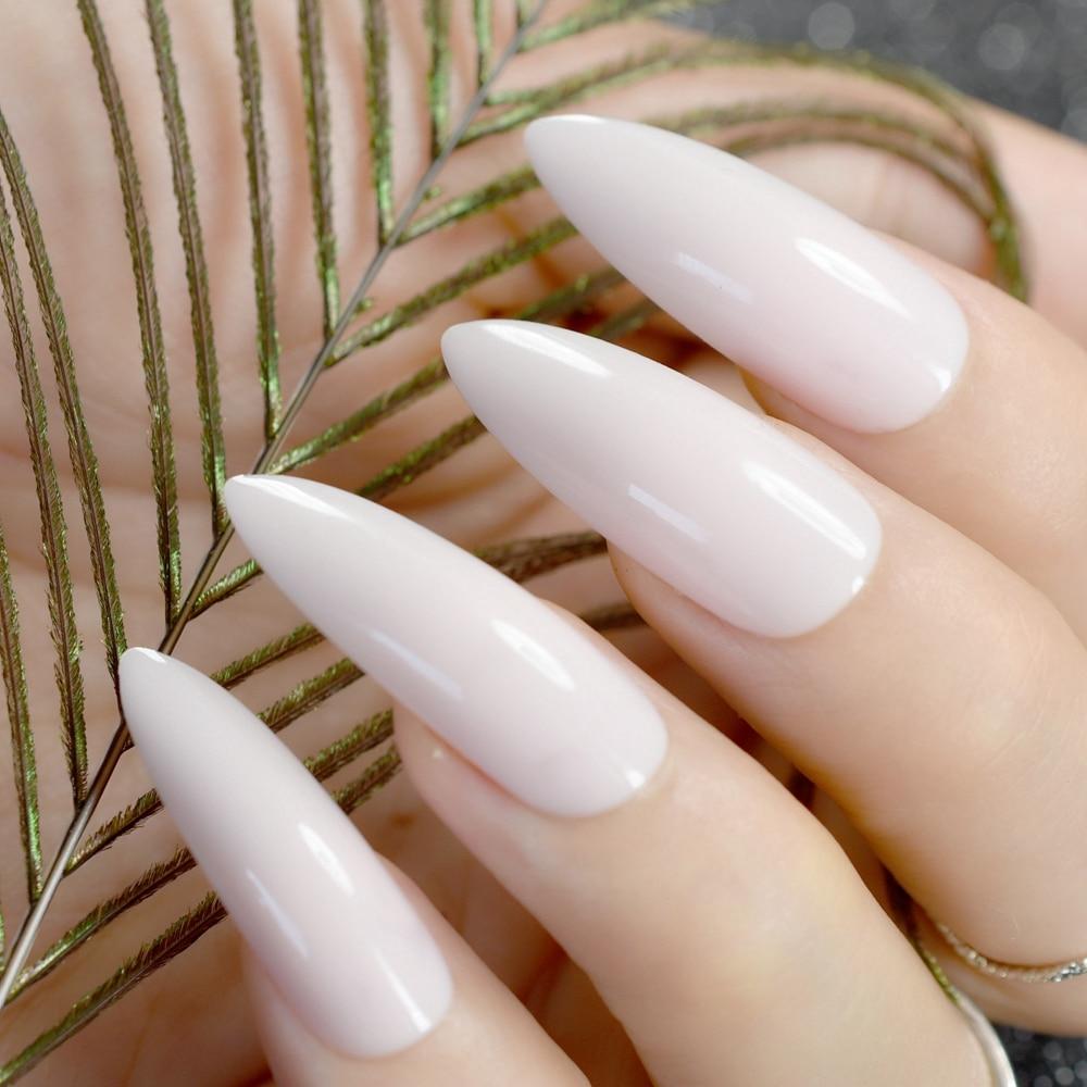 24Pcs Long Stiletto Nails Natural White Pointed False Nail Acrylic ...