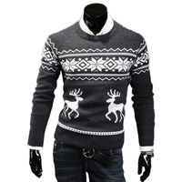 Men Casual Long Sleeve Deer Knitted Sweater Autumn Winter Christmas Jesus Sweaters Tops Knit Pullovers Slim
