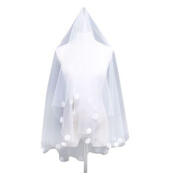 1.5M One-Layer Women Short Wedding Veil Embroidered Flower Applique Faux Pearl Embellishment Sweet Beaded Cut Trim Bridal Veil Bridal Veils
