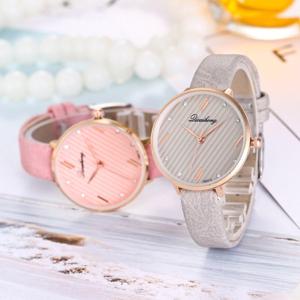 2018 Top Brand Fashion Ladies Watches Elegant Female Quartz Watch Women Leather Strap Watch Montre Femme Meteor Shower Dial