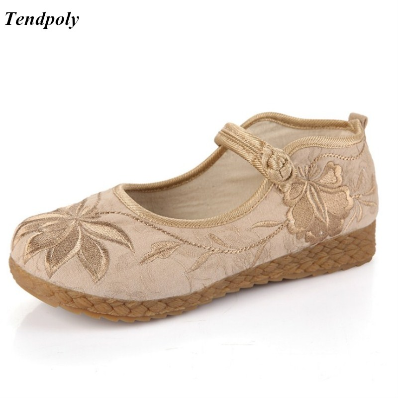 Old Beijing Flat cloth soles comfortable soft bottom retro middle-aged elderly embroidered leisure Women's shoes national style