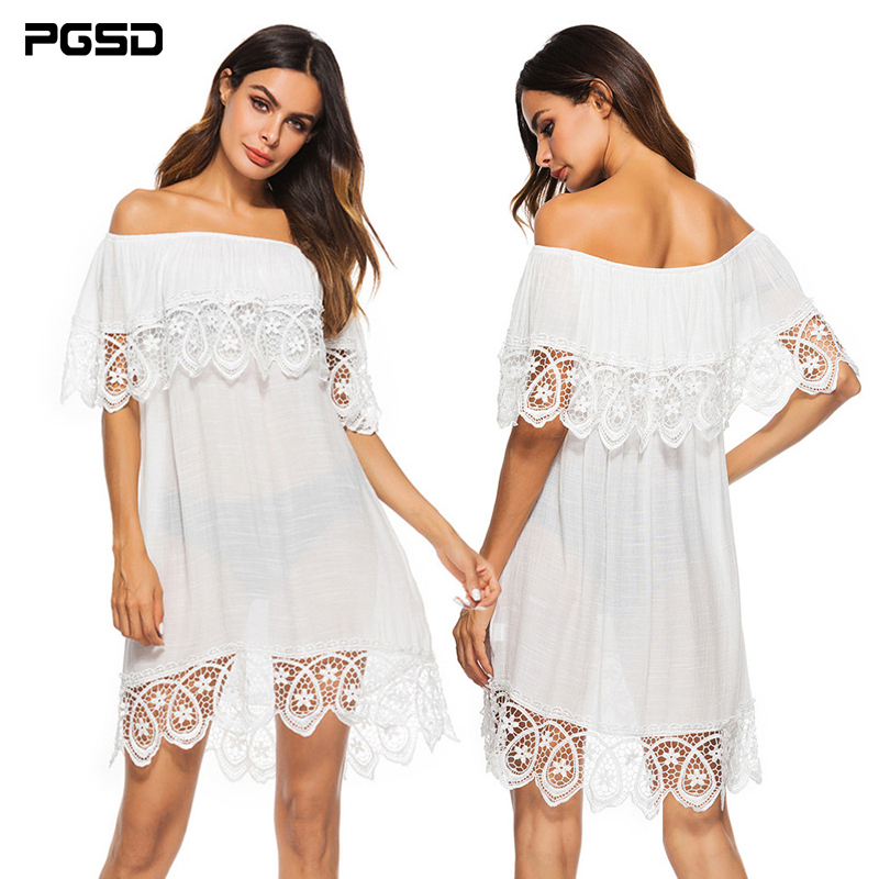 PGSD New Spring summer Fashion women clothes Lace-stitched Hollowed out Slash neck white beach Blouse Loose short Dress female