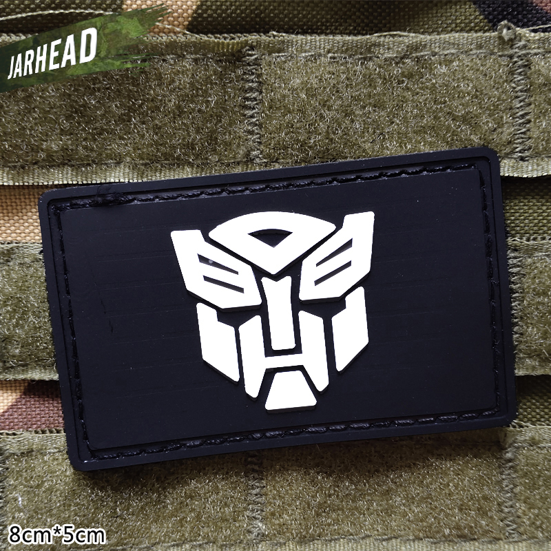 Transformers Military Pvc Patches Velcro Rubber Armband Tactical Badge Personality For Backpack Hat Clothes Jacket