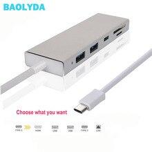 Baolyda USB HUB USB C to HDMI RJ45 Thunderbolt 3 Adapter for MacBook Samsung Galaxy S9 Huawei Mate 20 P20 Pro Type C USB 3.0 HUB 5 in 1 type c to hdmi 3 usb 3 0 hub adapter for macbook samsung galaxy s9 huawei p20 pro charger usb hub hdtv usb c cable data