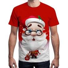 Feitong, унисекс, мужские рождественские футболки, топы, повседневные, забавные, с рождественским принтом Санты, с коротким рукавом, футболка, мужские топы, camisetas hombre