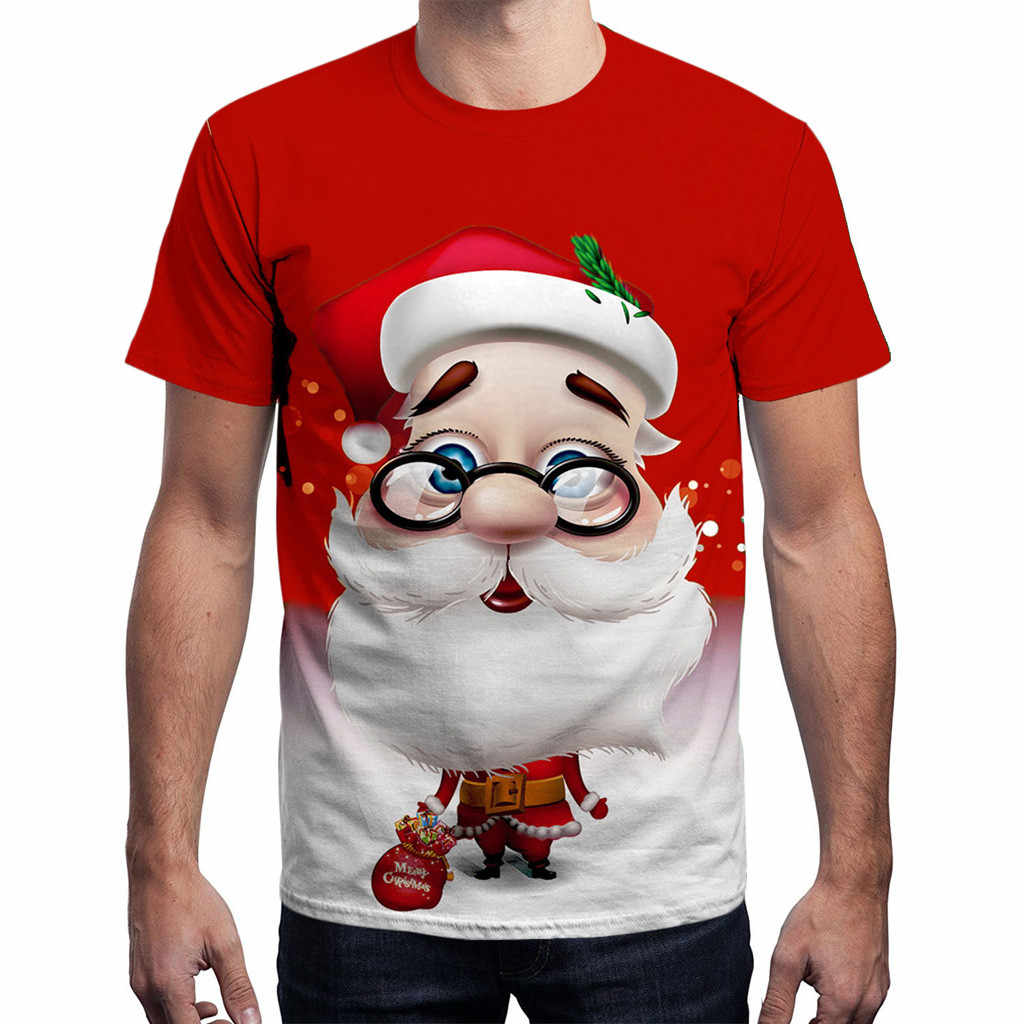Feitong Unisex Mannen Kerst T-shirts Tops Causale Funny Xmas Santa Print Korte Mouw Tee Shirt Man Tops camisetas hombre 2018