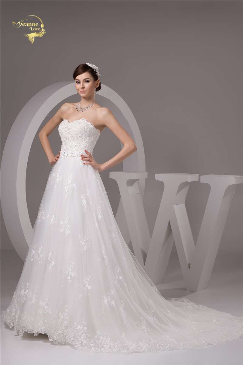 2016 Wit / Ivoor Luxe Vestido De Noiva Robe De Mariage Bridal Een - Trouwjurken - Foto 3