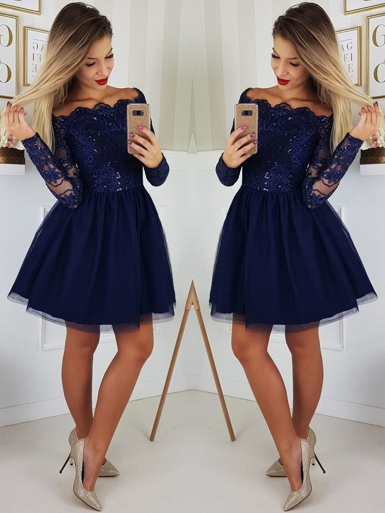 0ce0c0a1d5482 US $74.25 25% OFF|Cute A Line Navy Blue Graduation Prom Dresses Party Dress  2019 Short Tulle Skirt Long Sleeves Lace Homecoming Dresses-in Homecoming  ...