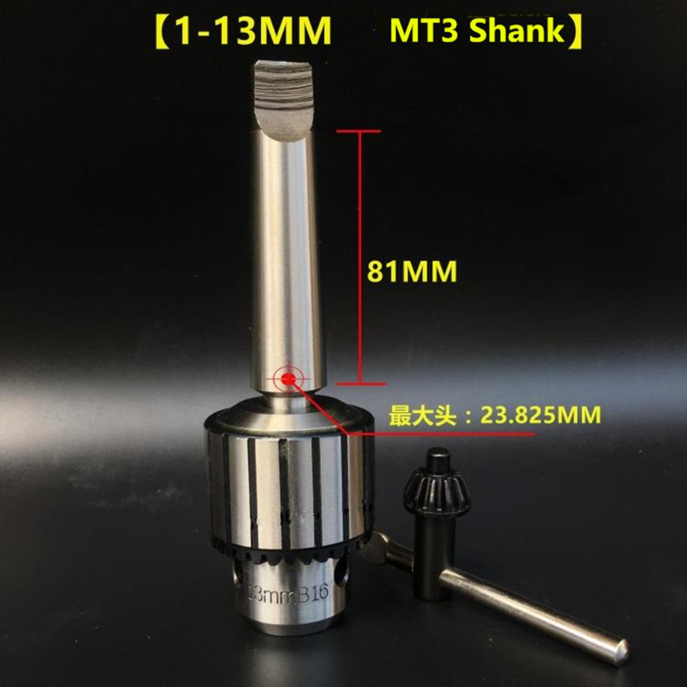 High Quality 1-13mm B16 Key Drill Chuck with Arbor MT3 Morse 3# Taper Shank 13mm drill chuck 2 morse taper key type drill chuck b16 capacity 0 5 13mm mt2 arbor woodworking lathes woodturning lathe shank