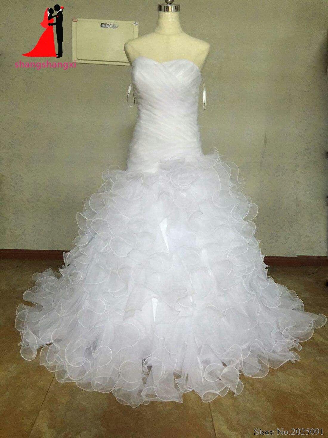 New White Plus Size font b Wedding b font Dresses 2017 Organza Ruffles A line font