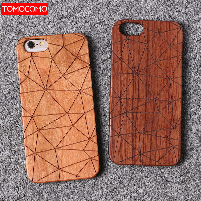 TOMOCOMO Real Bamboo Stereo Pattern Wood Case For iPhone 7 6Plus 8 8Plus Case Coque Phone Accessories For SAMSUNG S8 S9 plus