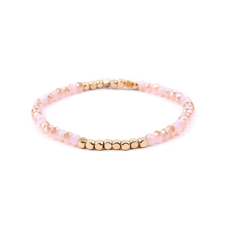 BOJIU многоцветные Кристальные браслеты для женщин золотые акриловые медные бусины розовый белый черный серый женский браслет с кристаллами BC226 - Окраска металла: 4-Rose Pink