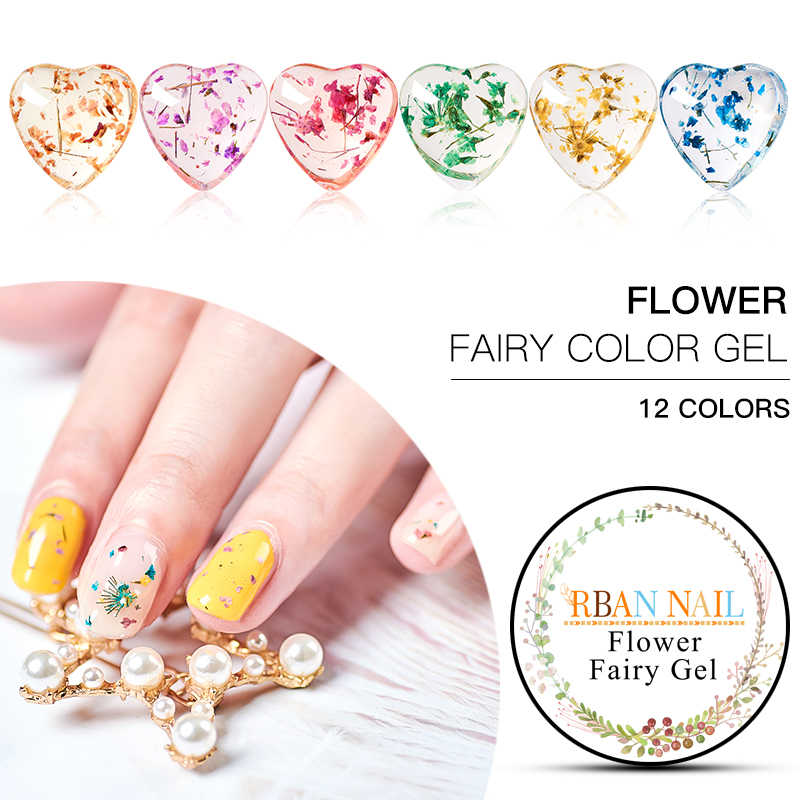 RBAN NAIL 5ML DIY Natural Dried Flower Fairy Nail Gel Polish Floral Soak Off Manicure UV Nail Art Gel Glue Varnish Decorations