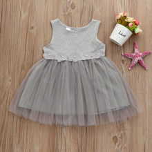Summer Toddler Baby Girls Dress Solid Gray Floral Tulle Stitching Dress O-neck Back Zipper Petal Pearl Princess Tutu Dress(China)