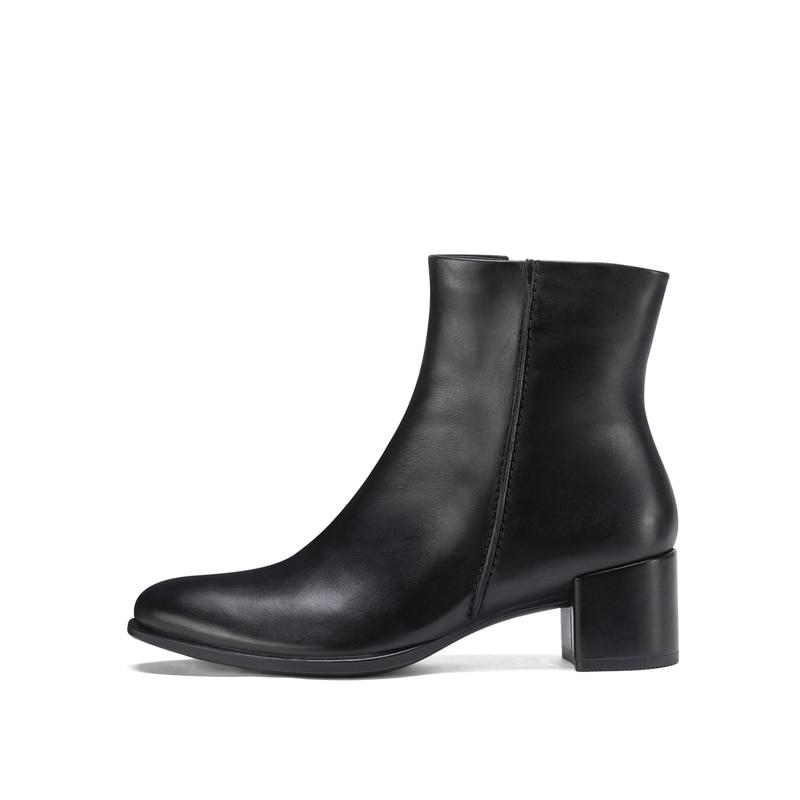 Véritable En Bottes Automne Classique Occasionnels marron Femmes Noir 2018 Mode Bout Chaussures Cuir Ecco Rétro Cheville Pointu Martin I0wzPq