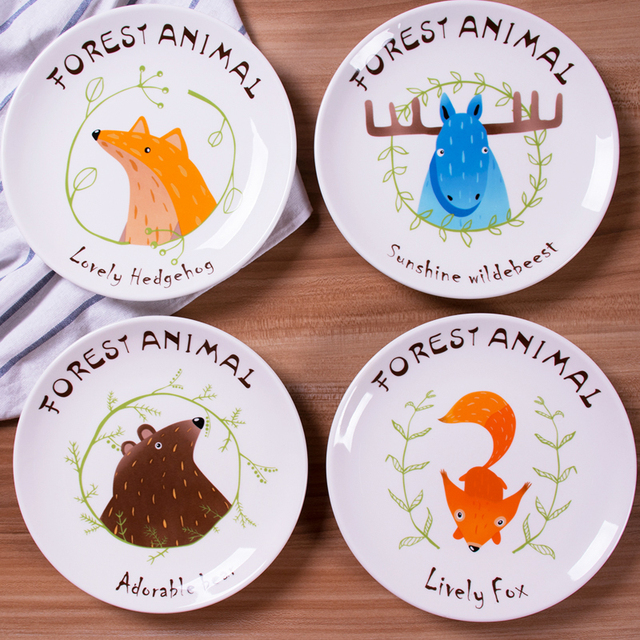 8 inch European cartoon ceramic plate tray western-style food dish plate Flat plate beefsteak  sc 1 st  AliExpress.com & 8 inch European cartoon ceramic plate tray western style food dish ...