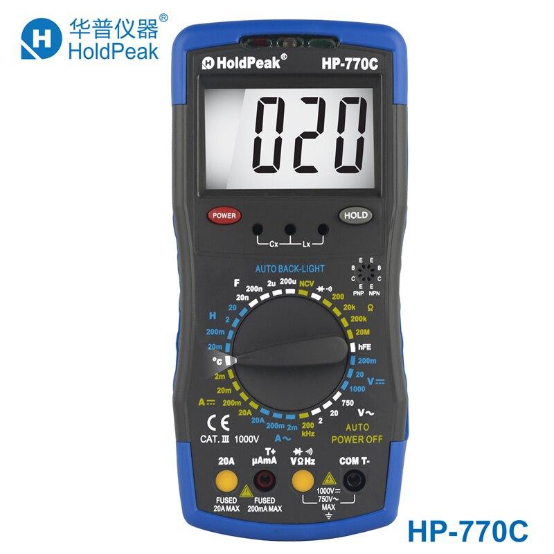 HoldPeak HP-770C Inductance Meter Digital Multimeter with Inductance/Frequency Test multimetro holdpeak hp 770c digital lcr multimeter meter with ncv feature and inductance frequency test