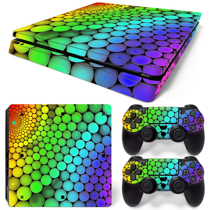 Free Drop Shipping Colorful for PS4 Slim Skin Protector Sticker Cover Decal for Playstation 4 for PS4 Slim Console skin sticker