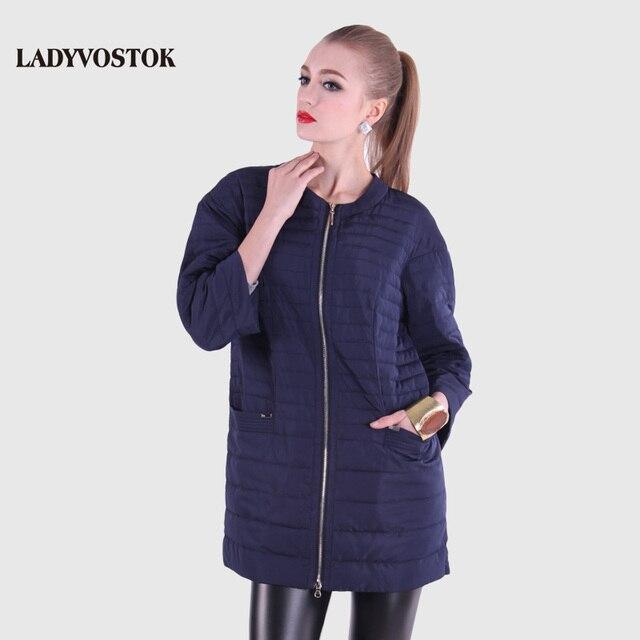 LADYVOSTOK Весна 2016 Стильная модная новая модель легкая курточка Парка женская одежда Тонкое пальто с поясом круг воротник модный модель комфортный пуховик 12-262