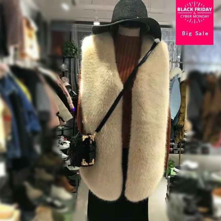 Veste femme hiver fausse fourrure de renard gilet manteau mode fourrure gilet femme sans manches fourrure veste pardessus chaud gilet d'extérieur L1610