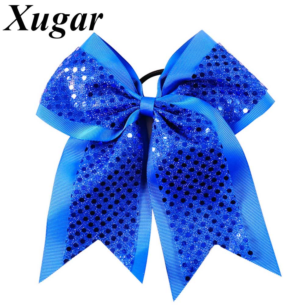 2 Pcs/Lot 8'' Large Sequin Solid Grosgrain Ribbon Cheer Bows Rubber Band Girls Cheerleading Bow Layers Hair Accessories 6pcs lot 7 inch sequin bling large cheer bowknot elastic hair band girls cheerleading for girl