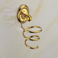 Luxury Golden Gold Color Brass Wall Mounted Bathroom Hair Dryer Holder Bathroom Accessory Aba608