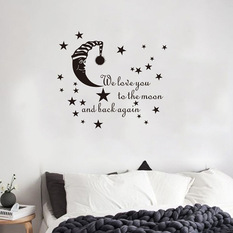 Cartoon Sleeping Moon Star Wall Sticker For Children's Baby Room Bedroom Home Decoration Mural Decals Wallpaper Kids Stickers