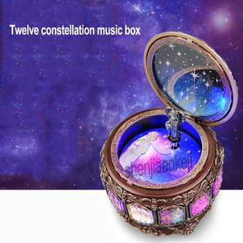 Twelve constellation music box Manual Arts 12 Constellation Musical Boxes with Led Flash Lights Valentine's Day Birthday Gift фото