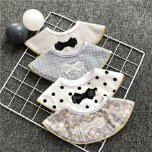 Ins 360 Degree Cotton Round Bib Fake Collar Gentleman Classic Dot Plaid Flower Print Cravat Baby Burp Waterproof Saliva Towel