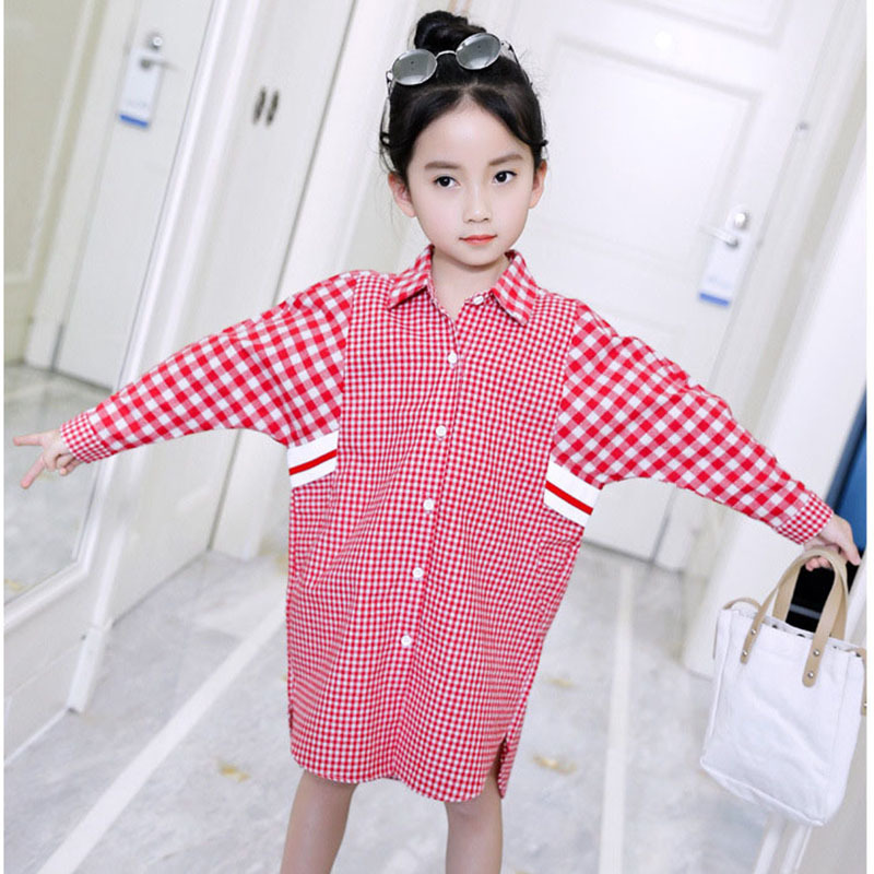 black red school big girls plaid long shirt dress spring autumn 2018 girl tops knee length kids long sleeve dress girl baby girl children floral blouse shirt spring autumn long sleeve doll collar girls thin chiffon blouses tops for teen 13 14 15y fb300