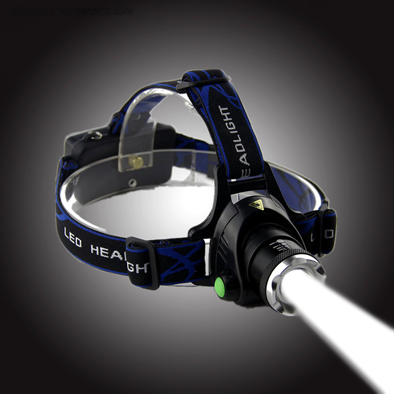 TRANSCTEGO CREE XML T6 zoomable led Headlight rechargeable head lamp Strong light flashlight LED Waterproof font