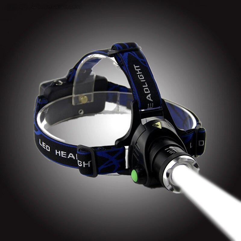 Transctego cree xml-t6 zoomable LED linterna recargable de la lámpara principal ligera fuerte linterna LED impermeable Pesca luces