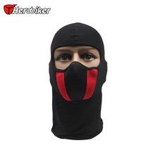 HEROBIKER Cotton Grid Motorcycle Face Mask Men's Outdoor Sports Windproof Dustproof Red Mask