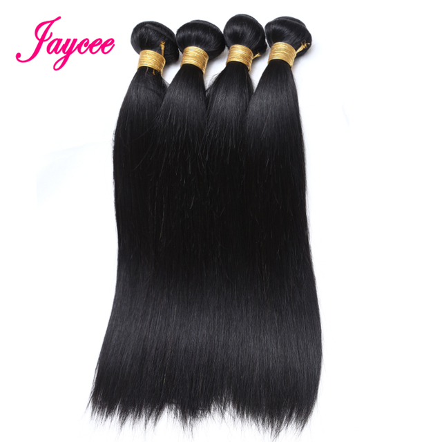 Jaycee Hair Products Brazilian Hair Straight 4 Bundles Human Hair Extensions Remy Hair Wesve Natural Black Color