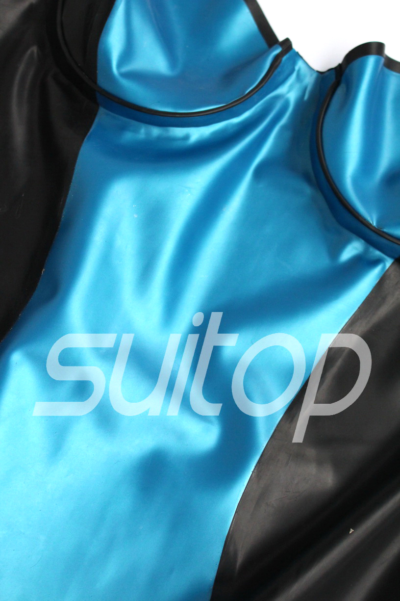 Suitop latex catsuit leotard with stocking and gloves sexy leotard outfit latex
