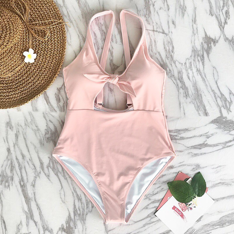 2018 One-Piece Swimsuit Female High Waist Soild Swimwear s