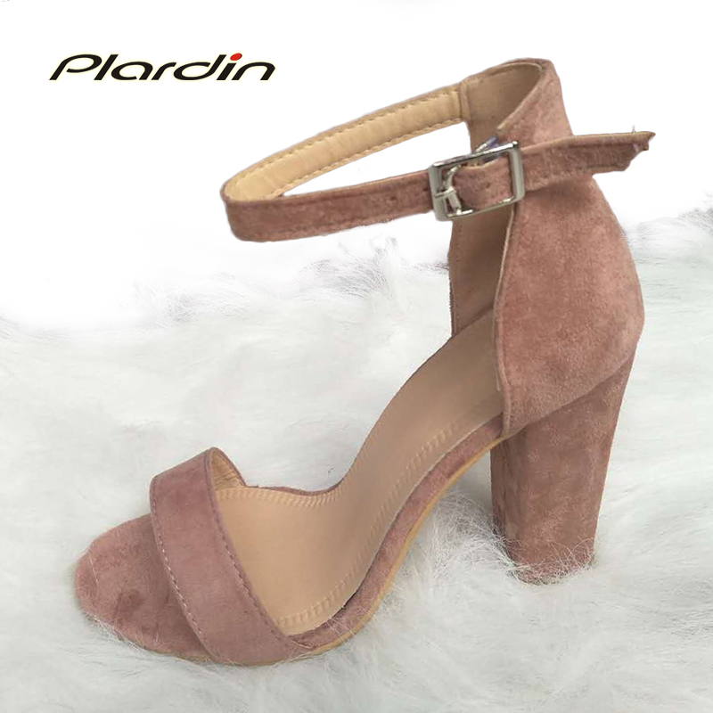 plardin Summer plus size Sexy woman Peep Toe square heel sandals Buckle Strap Shoes Ankle Strap with one word women pumps shoes woman sandals ankle strap buckle pumps women high square heels shoes peep toe summer feminino gladiator sandals or914975