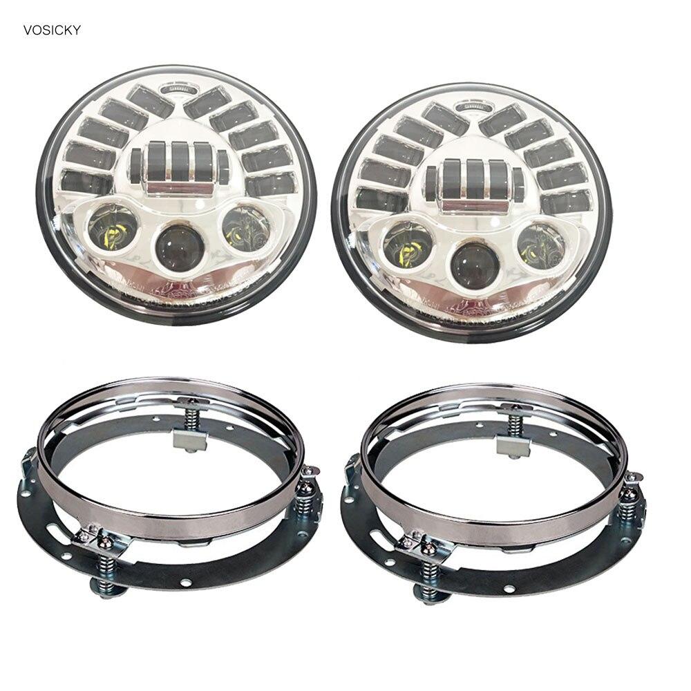 7 U0026quot  Inch Round Led Headlight 55w With 2 Pcs Bracket Ring For Je Ep Wr Angler Jk Cj