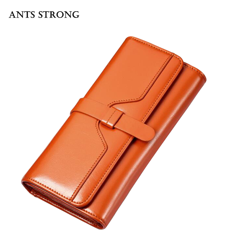 ANTS STRONGLadies leather wallet/Large capacity buckle three fold purse mini bag Long hand bags
