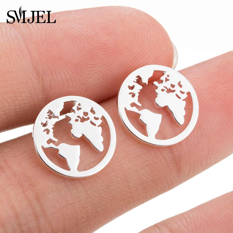 SMJEL Mickey Earings Stainless Steel Fashion World Map Stud Earrings for Women Girls Globe Traveler Jewelry pendientes mujer
