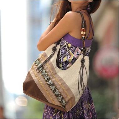 New Fashion Shopping Women Handbags!Hot National Floral Printed Shoulder&Handbags Vintage Top All-match Vesatile Zipper Bags