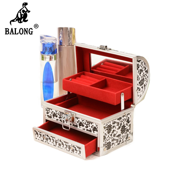 Flower Pattern Professional Cosmetic Case Lockable Jewelry Display Box Portable Jewellery Makeup Storage Box Carrying Organizer